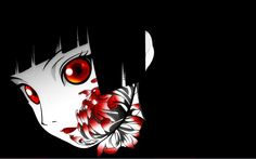 Hell Girl. Anime Wallpaper. Anime girl with red eyes and black hair.