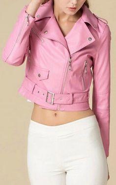 Vintage Pink Leather Motorcycle Jacket by vjones1 | Think Pink
