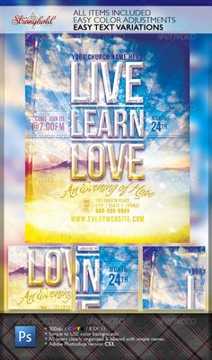 Live Learn Love Flyer Template — Photoshop PSD #bible #bible study • Available here → https://graphicriver.net/item/live-learn-love-flyer-template/2823300?ref=pxcr