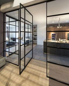 Minimalist House // oversized glass door and windows at this Amsterdam Apartment… Apartment Renovation, Apartment Design, Family Apartment, Steel Windows, Windows And Doors, Steel Doors, Sash Windows, Contemporary Apartment, Contemporary Decor