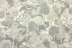 Japanese Fabric Forest  cotton lawn   grey by MissMatatabi on Etsy, $6.00