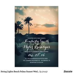String Lights Beach Palms Sunset Wedding Card Teal beach wedding invitations with sunset, palms, sea and string lights. --- All design elements created by Jinaiji