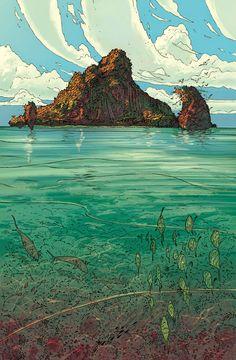 Jordi Lafebre - Home Fantasy Landscape, Landscape Art, Fantasy Art, Landscape Illustration, Illustration Art, Mtg Altered Art, Ligne Claire, Environment Concept Art, Art Graphique