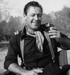 "William Holden on the set of ""The Horse Soldier"" (1959)"
