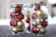 My new Christmas decorations  Mason Jars & Plastic, Dollar Store Ornaments (2011)