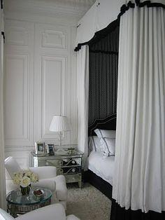 white & black trim bedroom