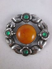 Vintage Evald Nielson Sterling Silver Baltic Amber & Green Stone Brooch Pin