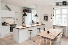 Great place in Central Copenhagen! in Copenhagen - Copenhagen, Denmark Micro Kitchen, Open Kitchen, Kitchen Dining, Tiny Living, Apartment Design, A Table, Small Spaces, New Homes, Room