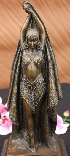 Art Deco Belly Dancer by Chiparus Bronze Sculpture Hot Cast Marble Base Figurine