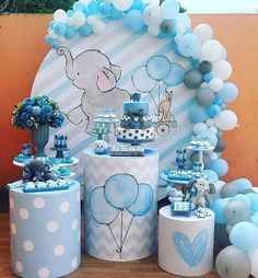 Baby Shower Centerpieces – Standout With Creative Baby Shower Decorations Baby Shower Decorations For Boys, Boy Baby Shower Themes, Baby Shower Balloons, Baby Shower Parties, Baby Party, Elephant Baby Shower Centerpieces, Idee Baby Shower, Baby Shower Cakes, Baby Boy Shower