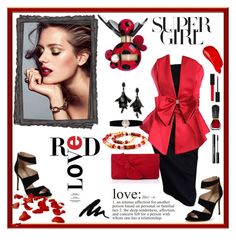 """""""Red LOVE"""" by danceofthesoul ❤ liked on Polyvore featuring Carvela, L.K.Bennett, WALL, Burberry, Gucci, Oribe, Marc Jacobs, Oscar de la Renta and Rolex"""