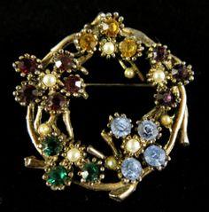 Vintage Brooch Antiqued Gold Tone Faux Pearls Multi Colored Rhinestones | eBay