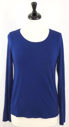 Eileen Fisher Scoop Neck Soft Knit Long Sleeve Blue Shirt Top Rayon Lycra S #EileenFisher #KnitTop #Career