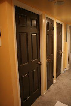 brown doors painting doors and white trim on pinterest. Black Bedroom Furniture Sets. Home Design Ideas