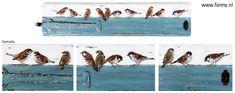 Tien mussen – in opdracht – 83 x 19 cm (op een deel van een oude deur)