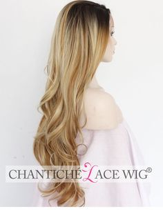 Highlights Lace Front Wig Ombre Blonde Synthetic Hair Natural Wavy Heat Friendly #ChanticheLaceWig #Layered #NaturalHairWigsSyntheticForHolidayWomens