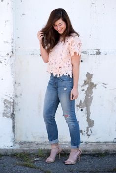 lace top in blush with distressed jeans and nude sandals