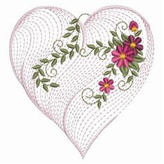 Ace Points Embroidery Design: Rippled Heart & Vine 3.74 inches H x 3.53 inches W