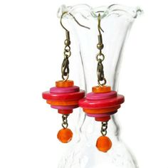 Unique Stacked Button Dangle Earrings Whimsical by BluKatDesign