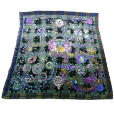 Authentic HERMES Cashmere Silk Fleurs dEcosse Shawl 140.   The extraordinary quality and fine detail of this Hermes scarf make it an iconic fashion accessory.