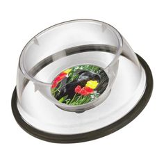 Black GSD Puppy Hiding in the Tulips pet bowls $20.95