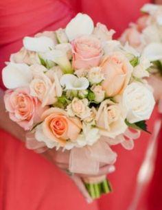 Elegant Islands Destinations Wedding Coral Orange Bridesmaids bouquet