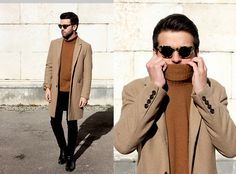 Marc Galobardes. Zara Brown Turtleneck, Pull And Bear Black Jeans, H&M Beige Coat