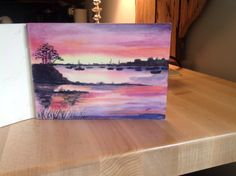 Sunset on a Cape Inlet in watercolor