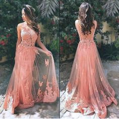 Elegant Prom Dresses,Appliques Prom Dresses,Lace Prom Dresses,Long Prom Dresses,Sexy Backless Evening Dresses