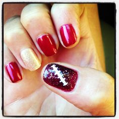 #49er nails! #goniners! #ilovefootball more niners nails to come for all the games!