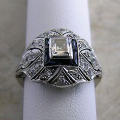 Edwardian Platinum Diamond Original Unusual Engagement Ring Circa 1910. $3,050.00, via Etsy.