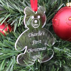 Unusual personalised gift for a baby's first Christmas Perfect to show how much you love them Attractively engraved quality clear acrylic - precision laser cut Lovely teddy bear shape FREE 1st class postage (UK only)