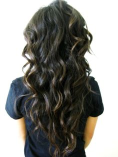 long brown hair, perfect! :) i wish i could get mine to curl like this