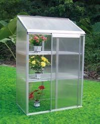 "Sprout Greenhouse by EarthCare Greenhouses by EarthCare Greenhouses. $279.99. Ideal for starting Seeds. 4 mm Double Wall Polycarbonate. Sliding Door. Dimensions: 22.8"" Length x 38.6"" Width x 58"" Height. Aluminum Frame and 2 Shelfs. With 2 level of sturdy greenhouse shelving, Sprout Jr Greenhouse Kits are is perfect for gardening year round, starting plants, and even storing garden tools.      For those with space issues, this greenhouse kit is ideal, because it literally ..."