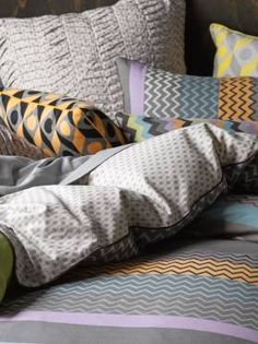 Linen House Saxon Quilt Cover Set in Charcoal, available at Forty Winks! Loving the texture and mix of pattern and colours!