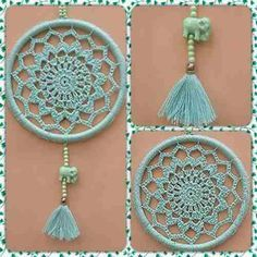 Crochet Mandalas – Page 2 Crochet Home, Love Crochet, Crochet Gifts, Diy Crochet, Motif Mandala Crochet, Crochet Motifs, Crochet Doilies, Dreamcatcher Crochet, Sun Catchers