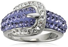 Sterling Silver Buckle Shape Purple and White with Swarovski Elements Ring, Size 7 Amazon Collection http://www.amazon.com/dp/B005NGTW4G/ref=cm_sw_r_pi_dp_qZjwwb06YGFV0