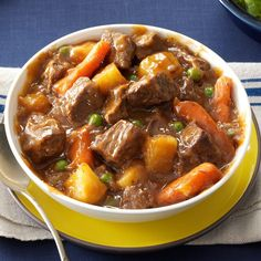 Slow Cooker Beef Vegetable Stew Recipe -Come home to warm comfort food! This beef stew is based on my mom's wonderful recipe, but I adjusted it for the slow cooker. Add a sprinkle of Parmesan to each bowl for a nice finishing touch. —Marcella West, Washburn, Illinois