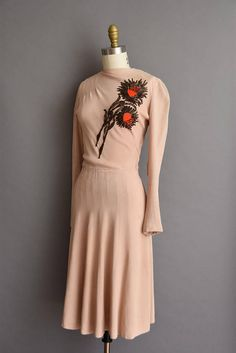 vintage 40s dress. 1940s nude pink beaded rayon crepe dress