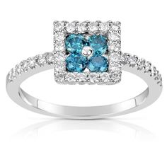 Check out this Suzy Levian 14k White Gold .58ct TDW Blue and White Diamond Ring (H-I, SI1-S12) on BriskSale: