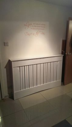 Large radiator cover in white.
