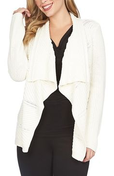 Free shipping and returns on Chaus Mixed Stitch Open Front Cardigan at Nordstrom.com. A mix of stitches and chunky, cottony-soft yarns brings cozy texture to a long-sleeve cardigan fashioned with an elegantly draping front.