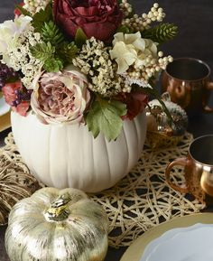 Floral pumpkin centerpiece – fall centerpiece – fall decorating – Autumn decorating – Fall decor ideas - New Deko Sites White Pumpkin Centerpieces, Pumpkin Arrangements, Fall Floral Arrangements, Wedding Flower Arrangements, White Pumpkins Wedding, Centerpiece Ideas, Pumpkin Flower, Autumn Decorating, Baby Shower Fall