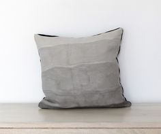 Pillow Hand Dyed Horizontal Gradient in Fog Grey on natural white - by Chanee Vijay