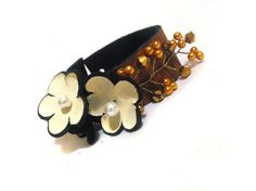 Rustic woman leather bracelet with flowers by julishland on Etsy, $16.00