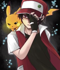 Pokemon trainer: Red & his Pikachu. Possibly the sexiest Pokemon trainer ever. Red is hot as Fuck xD Sexy Pokemon, Ash Pokemon, Pokemon Fan Art, Fanart Pokemon, Pokemon Poster, Pokemon Stuff, Pikachu Art, Cute Pikachu, Pokemon Rouge
