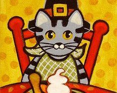 Cat themed folk art, paintings, prints, dolls & pillows by thatsmycat Pies Art, Orange Tabby Cats, Tropical Flowers, A 17, Original Paintings, Art Paintings, Folk Art, Art Prints, Etsy