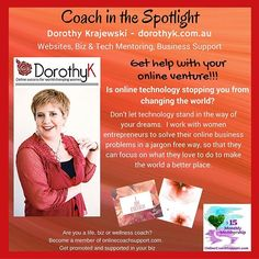 Do you need a polished, fully functional website that delivers clients to your businesses, at a price that, as a start-up business owner, you can afford?  Or is your current website is looking tired?  Call Dorothy for a quote to create or revamp your site today!  And don't let the online techy stuff stop you from being awesome in your business. Join her for 1:1 training and mentoring to learn all you need to know to kick ass online.  If you want your business running smoothly while you…
