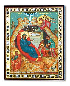 """Nativity Icon with Holy Land Relic  This colorful icon features all the traditional elements of Christmas icons, but with an added blessing: a stone relic from the Holy Land embedded in the icon. Made in Russia, mounted on wood. 4 1/2"""" x 5 3/4"""" x 3/4"""""""