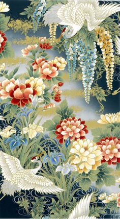 decor, artwork, motif of this style. Japanese Textiles, Japanese Fabric, Japanese Prints, Japanese Design, Japanese Painting, Chinese Painting, Chinese Art, Chinese Patterns, Japanese Patterns